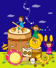 Two boys with a girl playing musical instruments