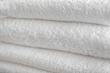 Folded clean towels, closeup