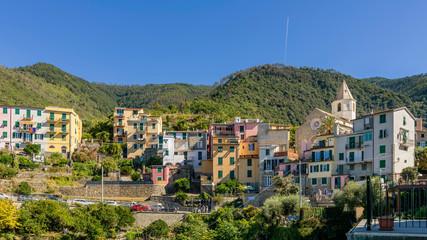 The historic center of the hill town of Corniglia, Cinque Terre, Liguria, Italy