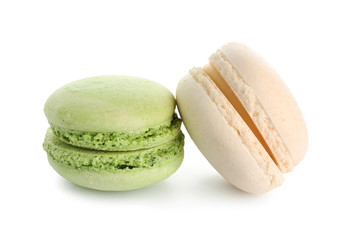Sweet colorful macaroons on white background