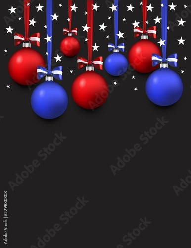 Patriotic Christmas Background.Vector Christmas Patriotic Card With Lettering And Balls
