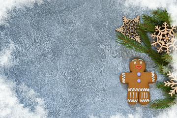 New Year's background with ginger biscuits. Happy New Year and Merry Christmas.