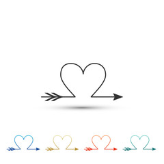 Cupid arrow heart, Valentines Day cards icon isolated on white background. Set elements in colored icons. Flat design. Vector Illustration