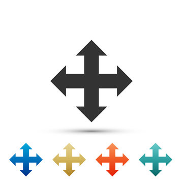 Arrows in four directions icon isolated on white background. Set elements in colored icons. Flat design. Vector Illustration