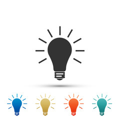 Light bulb icon isolated on white background. Set elements in colored icons. Flat design. Vector Illustration