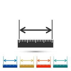 The measuring height and length icon isolated on white background. Ruler, straightedge, scale symbol. Set elements in colored icons. Flat design. Vector Illustration