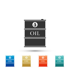 Barrel oil icon isolated on white background. Set elements in colored icons. Flat design. Vector Illustration