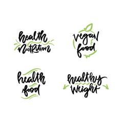 Set of vegan, healthy handwritten lettering logos, labels, emblems.