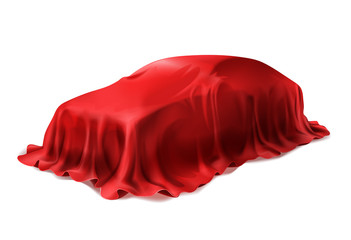 Vector realistic car covered with red silk isolated on white background. Presentation of new car in dealership, auto surprise under scarlet cloth.