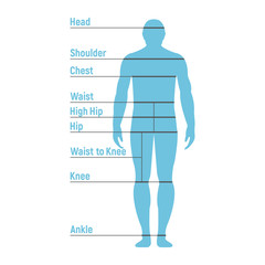 Man Size Chart. Human front side Silhouette. Isolated on White Background. Vector illustration