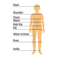 Boy Size Chart. Human front side Silhouette. Isolated on White Background. Vector illustration