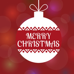 A square vector image of a decorative ball with a merry christmas text. Red bokeh background with gradients. A christmas flyer or card for greeting and invitation