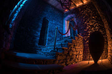 Inside of old creepy abandoned mansion. Staircase and colonnade. Silhouette of horror ghost standing on castle stairs to the basement. Spooky dungeon stone stairs in old castle with light.
