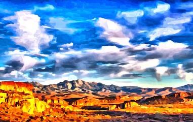 Hand drawing watercolor art on canvas. Artistic big print. Original modern painting. Acrylic dry brush background. Wonderful mountain landscape. Canyon savanna resort. Travel time
