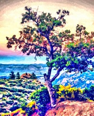Hand drawing watercolor art on canvas. Artistic big print. Original modern painting. Acrylic dry brush background. Wonderful landscape. Exotic tropical resort. Travel time. Single tree on hill