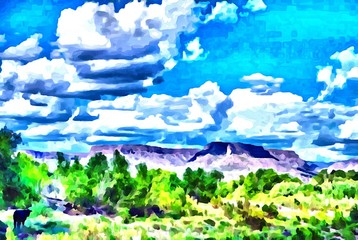 Hand drawing watercolor art on canvas. Artistic big print. Original modern painting. Acrylic dry brush background. Wonderful summer mountain landscape. Exotic tropical resort. Travel time. Bright sky