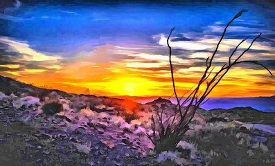 Hand drawing watercolor art on canvas. Artistic big print. Original modern painting. Acrylic dry brush background. Wonderful mountain landscape. Evening resort. Travel time. Beautiful sunset