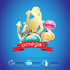 Omega Vitamins Calcium or Nutritions Logo Vector Background Products for Kid