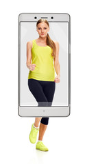 Photo of beautiful smiling sporty woman running race, concept virtual reality of the smartphone. going out of the device