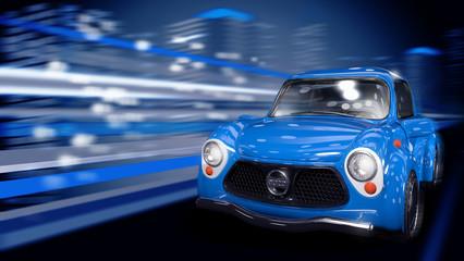 Голубой автомобиль едет по ночному городу