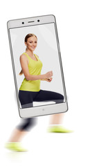 Pretty slim laughing woman in sportswear running race, concept of image quality. freezing moving objects in the camera smartphone