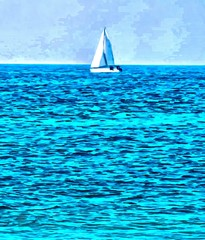 Hand drawing watercolor art on canvas. Artistic big print. Original modern painting. Acrylic dry brush background. Wonderful sea boat landscape. Exotic tropical resort. Charming paradise view.
