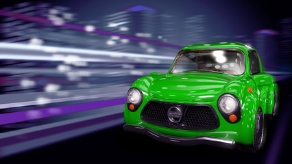 Зелёный автомобиль едет по ночному городу