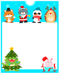 Cute animal Christmas character background vector.