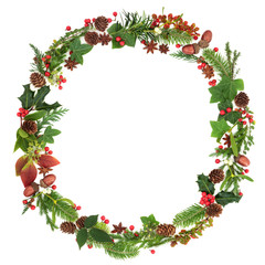 Winter and Christmas wreath garland with traditional natural flora and fauna of the season on white background.
