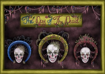 day of the dead banner with decorated skulls on the textured background and decorations around