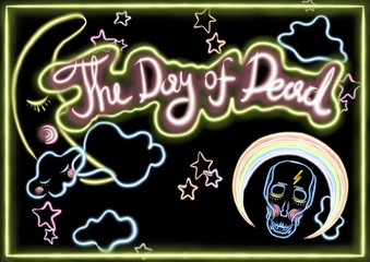 day of the dead banner with black background and fluorescent letters, skull and decorations around