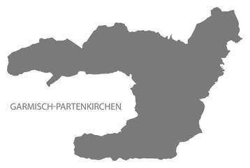 Garmisch-Partenkirchen administration area map grey illustration silhouette
