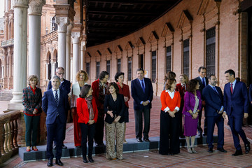 Spain's Prime Minister Pedro Sanchez arrives for a family photo ahead of a cabinet meeting in Seville