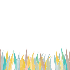 Card with colorful grass isolated on white background with empty space. Vector illustrator.