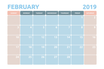 Minimal Calendar design for February of 2019 with copy space for desk planner and organiser the appointment.