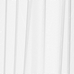 Abstract net imitation with vertical drapery. Gray squiggle thin lines, curves. Vector monochrome striped background. Line art pattern, textile, netting, mesh textured effect. EPS10 illustration