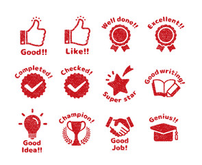 rubber stamp icon set (for teachers using at school)
