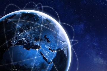 Global connectivity concept with worldwide communication network connection lines around planet Earth viewed from space, satellite orbit, city lights in Europe, some elements from NASA