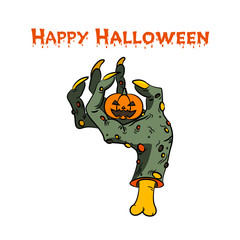 Halloween pumpkin in zombie hand. Vector illustration