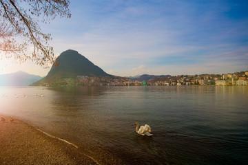 Lugano in der Schweiz im Frühling. Blick auf den See, die Stadt und Monte San Salvatore.