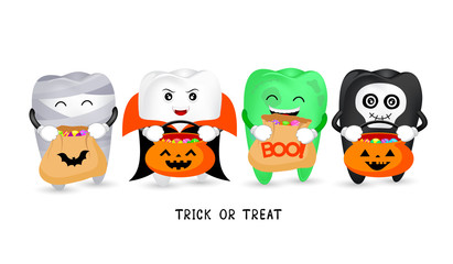Cartoon spooky tooth with candies. Trick or treat, Halloween concept. Illustration isolated on white background.