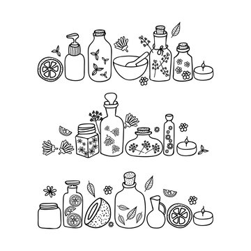 Organic cosmetics illustration. Set of organic cosmetics-glass bottles, flowers and leaves. Beauty set. Hand drawn spa and aromatherapy elements. Cartoon vector sketch of natural cosmetic.
