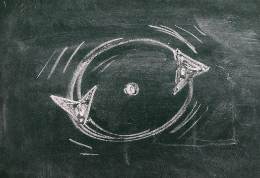 Circular arrows, endless repeating cycle drawn on chalkboard, blackboard background and texture