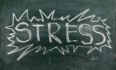 Stress written on chalkboard, blackboard background and texture