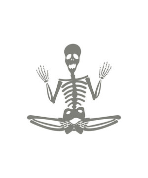 Human skeleton in yoga meditation pose. Halloween party design template.