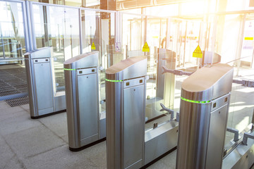 Turnstiles for the passage of subway trains transport.