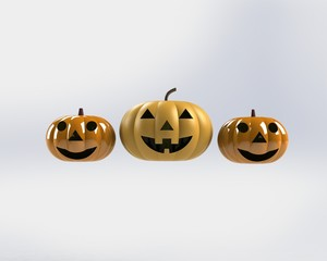 Halloween Pumpkin split from white background 3D illustration 3 dimensional display.