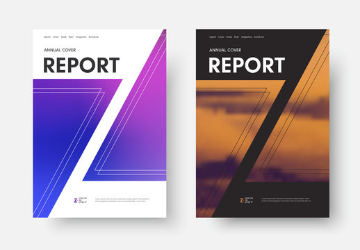 Report cover vector template with letter Z silhouette, mixed gradients and photos.