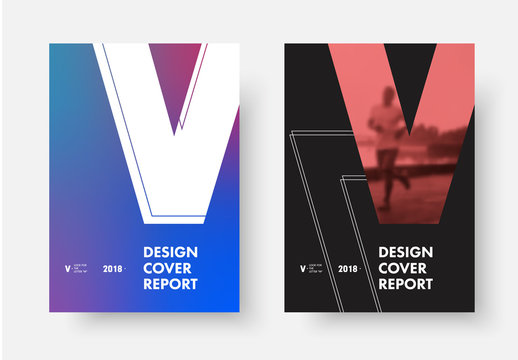 set of vector covers with the shape of the letter V, with a purple gradient and a place for a photo.
