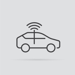 Autonomous car icon in flat style isolated on grey background.